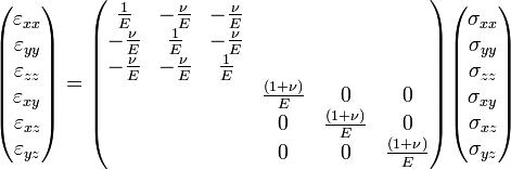 \begin{pmatrix}  \varepsilon_{xx}\\  \varepsilon_{yy}\\  \varepsilon_{zz}\\  \varepsilon_{xy}\\  \varepsilon_{xz}\\  \varepsilon_{yz} \end{pmatrix}  = \begin{pmatrix}  \frac{1}{E} & -\frac{\nu}{E} & -\frac{\nu}{E} & & & \\  -\frac{\nu}{E} & \frac{1}{E} & -\frac{\nu}{E} & & & \\  -\frac{\nu}{E} & -\frac{\nu}{E} & \frac{1}{E} \\  & & & \frac{(1+\nu)}{E} & 0 & 0 \\  & & & 0 & \frac{(1+\nu)}{E} & 0 \\  & & & 0 & 0 & \frac{(1+\nu)}{E} \\ \end{pmatrix} \begin{pmatrix}  \sigma_{xx}\\  \sigma_{yy}\\  \sigma_{zz}\\  \sigma_{xy}\\  \sigma_{xz}\\  \sigma_{yz} \end{pmatrix}
