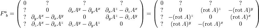 F^a_{\;\;b} = \left(\begin{array}{cccc}0 &? &? &? \\? & 0 & \partial_x A^y - \partial_y A^x &  \partial_x A^z - \partial_z A^x \\?  & \partial_y A^x - \partial_x A^y & 0  & \partial_y A^z - \partial_z A^y \\? & \partial_z A^x - \partial_x A^z & \partial_z A^y - \partial_y A^z & 0 \end{array} \right)  = \left(\begin{array}{cccc}0 &? &? &? \\? & 0 & ({\rm rot}\; A)^z & -({\rm rot} \;A)^y \\? & -({\rm rot}\; A)^z & 0 & ({\rm rot}\; A)^x \\? & ({\rm rot}\; A)^y & -({\rm rot} \;A)^x & 0 \end{array} \right)