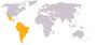 Localização dos membros da ALADI no mundo.