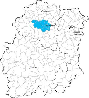 Situation du canton de Montlhéry dans le département Essonne