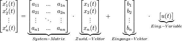 \begin{bmatrix}       x'_1(t)\\       x'_2(t)\\       \vdots\\       x'_n(t)\\      \end{bmatrix}  =\underbrace{\begin{bmatrix}       a_{11}& ...  & a_{1n}\\      a_{21}& ...  & a_{2n}\\      \vdots& \ddots  &\vdots\\      a_{n1}& ... & a_{nn}\\     \end{bmatrix}}_{System-Matrix} \  \cdot \underbrace{\begin{bmatrix}       x_1(t)\\      x_2(t)\\      \vdots\\      x_n(t)\\      \end{bmatrix}}_{Zustd.-Vektor} +   \underbrace{\begin{bmatrix}      b_{1} \\      b_{2} \\      \vdots \\      b_{n} \\     \end{bmatrix}}_{Eingangs-Vektor} \cdot  \underbrace{\begin{bmatrix}      u(t)\\          \end{bmatrix}}_{Eing.-Variable}