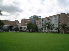 All India Institute of Medical Sciences with green lawn in front