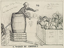 """Caricature of a man preaching out of a barrel labeled """"Fanaticism"""", stacked up on books labeled """"Priestley&squot;s works"""" to a crowd, while the devil sneaks up on him."""