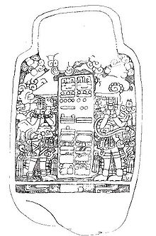 Line drawing of a stela, showing two ornate figures on either side of a double column of hieroglyphs