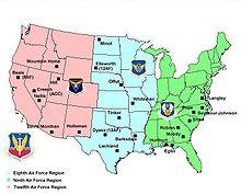 Commandement et principales bases aériennes de l'ACC aux États-Unis.