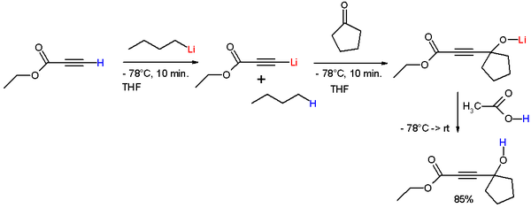 Scheme 1. Reaction of ethyl propiolate with n-butyllithium to form the lithium acetylide.
