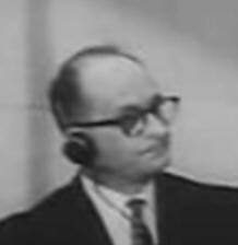 Adolf Eichmann en avril 1961 lors de son procès à Jérusalem.