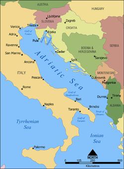 Carte de la mer Adriatique.