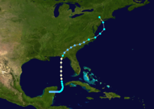 A color-coded chart shows that Hurricane Agnes began as a tropical depression over the Yucatán Peninsula in Mexico, turned sharply northward and became a tropical storm after entering the Caribbean Sea. It gained hurricane strength as it crossed the Gulf of Mexico but weakened to a tropical depression again after striking the U.S. mainland and turning to the northeast. After crossing several southeastern states, it entered the Atlantic Ocean off the coast of North Carolina and regained tropical-storm strength. It then curved back to the northwest and, striking the mainland again, it passed close to Pennsylvania.