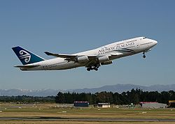 Een Boeing 747-400 van Air New Zealand
