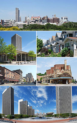 "A medley of different scenes to represent the diversity of the city. At top is a photo of the city&squot;s skyline, juxtaposing modern towers from the 1960s with older buildings dating back to the 19th century. Above center, right shows cookie-cutter, single-family houses, all two-stories with porches. Below center, right shows the marquee of a buff- and red-brick theater; marquee reads ""PALACE"". Bottom is a panoramic view of an open courtyard split by reflecting pools and surrounded by four modern, glass and concrete towers on left and one taller tower on right; in center is a Romanesque, granite, five-story capitol building. Below center, left shows a city street populated with old brick buildings. Above center, left shows a modern, glass and concrete tower surrounded by a shorter building of the same style."