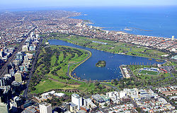 Aerial view of Albert Park and Lake