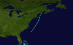 Map of a track through the northeastern Atlantic Ocean. The east coast of the United States is shown along the left side of the image as well as part of eastern Canada