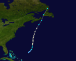 Map of a track through the northeastern Atlantic Ocean. The east coast of the United States is shown along the left side of the image. Part of Cuba is visible in the bottom right and eastern Canada is at the top right.
