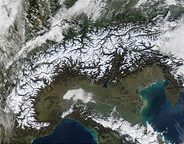 Satellietfoto van de Alpen uit 2002
