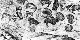 Premier relevé du plafond aux polychromes d'Altamira, publié par M. Sanz de Sautuola en 1880