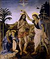 Painting showing Jesus, naked except for a loin-cloth, standing in a shallow stream in a rocky landscape, while to the right, John the Baptist, identifiable by the cross that he carries, tips water over Jesus' head. Two angels kneel at the left. Above Jesus are the hands of God, and a dove descending.