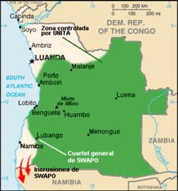 De maximale expansie van UNITA tussen 1976 en 1991.
