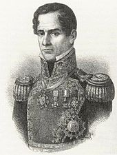 Lithograph depicting head and shoulders of a middle-aged, clean-shaven man wearing a military uniform.