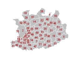 Les 70 communes de la province