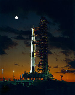La première Saturn V avant le lancement d'Apollo 4.
