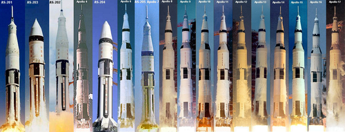 Apollo launches, 1–6: unmanned, 7–17: manned