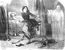 À la gauche du dessin, un homme malade ou mourant est allongé dans un lit. Au centre, une femme s'éloigne à la course d'une femme masquée et habillée en blanc qui se tient à la droite du dessin.
