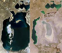 Mer d'Aral vue de l'espace, image satellite de la NASA.