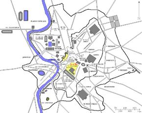 Localisation de l'arc de Titus dans la Rome antique (en rouge)