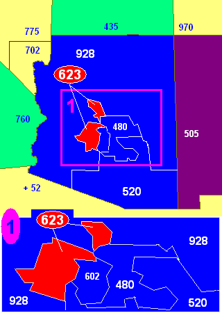 Map of Arizona area codes in blue (and border states) with 623 in red