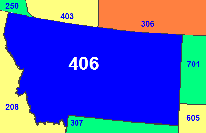 Map of Montana area code in blue (with border states and provinces)