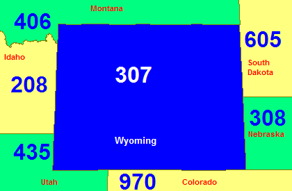 Map of Wyoming showing its area code in blue (with border states)