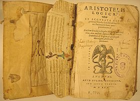 """Front cover of book, titled """"Aristotelis Logica"""", with an illustration of eagle on a snake"""