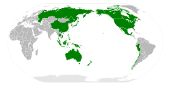 APEC member economies shown in green