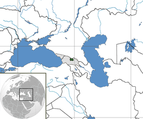 South Ossetia (in green) with Georgia proper and Abkhazia (in grey)