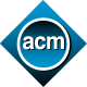 """""""acm"""" in blue circle with gray rim, surrounded by blue diamond"""