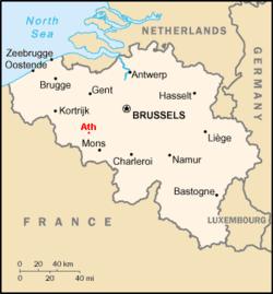 Location of Ath in Belgium
