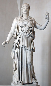 """Marble Greek copy signed """"Antiokhos"""", a first century BC variant of Phidias&squot; fifth-century Athena Promachos that stood on the Acropolis"""