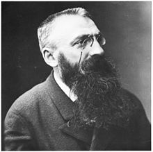 Head and shoulders photo of a young man with a crew cut and a full beard, moustache and pince-nez.