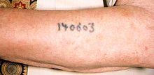 Numéro 140603 tatoué en noir sur la face externe d'un avant-bras masculin.