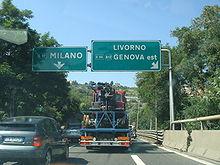 La E62 près de Gênes en Italie