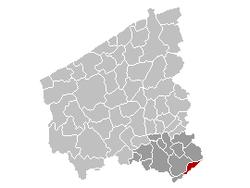 Situation de la ville au sein de l'arrondissement de Courtrai et de la province de Flandre-Occidentale