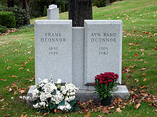 "A twin gravestone bearing the name ""Frank O&squot;Connor"" on the left, and ""Ayn Rand O&squot;Connor"" on the right"