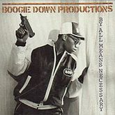 Album cover: Head and shoulders shot of a man wearing a casual jacket holding a gun and looking through curtains out a window.