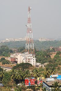 A microwave tower for short distance (~50 km) communication.