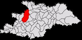Localisation du chef-lieu dans son județ