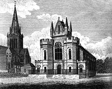 Drawing of a large stone building with prominent towers and pinnacles and long narrow windows. A separate building to the right has a tall pointed steeple.
