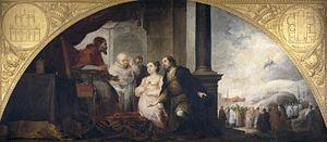 El patricio Juan y su esposa ante el papa Liberio.