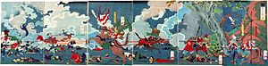 The battle depicted on folding screens.