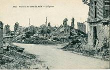 Ruines de Chaulnes après la Première Guerre mondiale